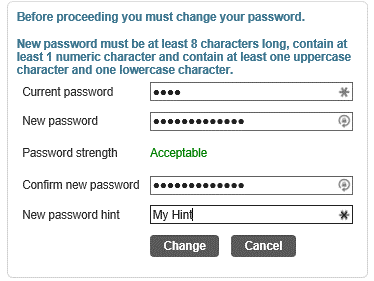 Update or Change Munis Password Screen