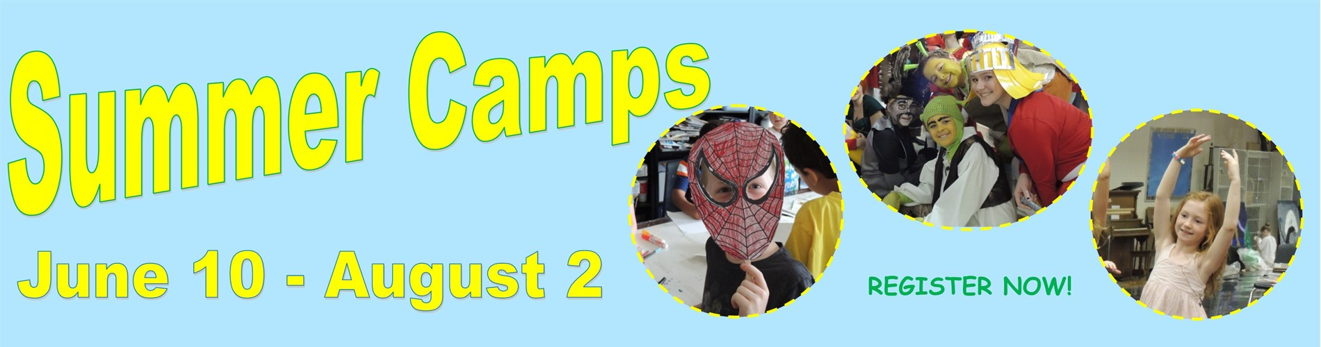 Summer camp banner with young campers dressed up as spider man, shrek and friends and a dancer