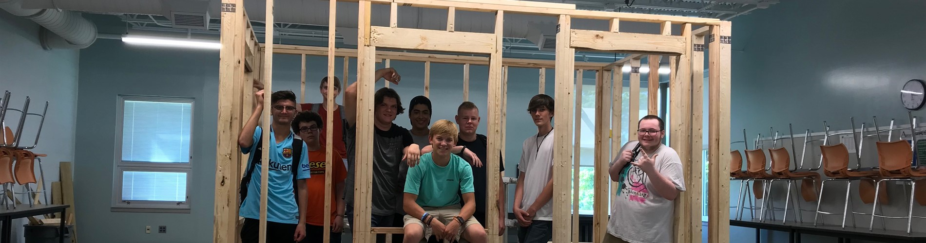 Construction Trades students build the frame of their shed.