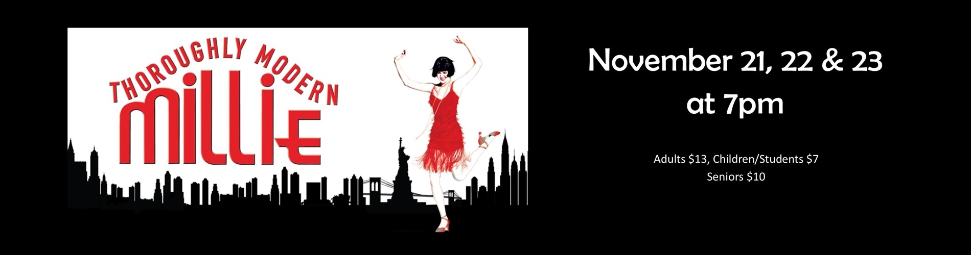 Logo of Thoroughly Modern Millie the musical