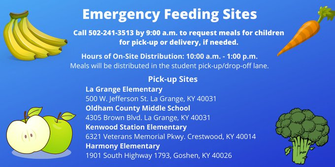 Emergency Feeding Sites - Call 502-241-3513 by 9:00 a.m. to request meals for children for pick-up or delivery.