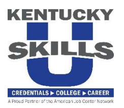 "Kentucky U Skills Logo ""Credentials > College > Career"""