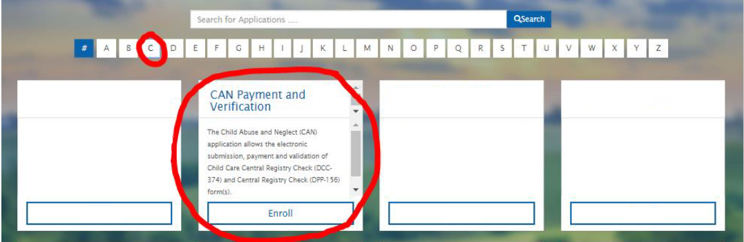 "MyKentucky.gov Screenshot:  Select the letter ""C"" from the alphabet list and then select CAN Payment and Verification"