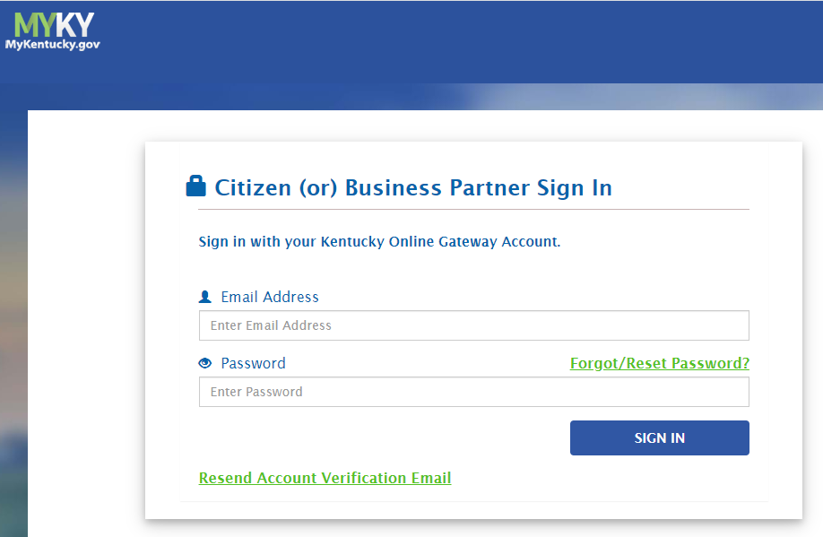MyKentucky.gov Screenshot: Citizen (or) Business Partner Sign In Screen