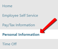 MSS Personal Information link, in the left side navigation