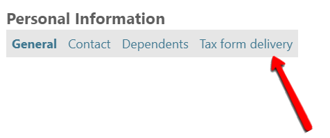 Personal Information toolbar - Tax Form delivery link