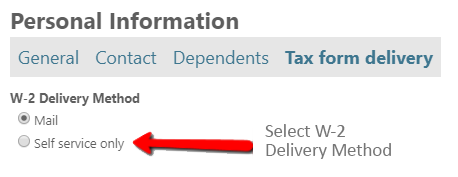 Changing the W-2 Delivery Method from Mail to Self service only