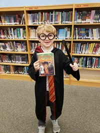 Book Character Day- Boy dressed up as Harry Potter