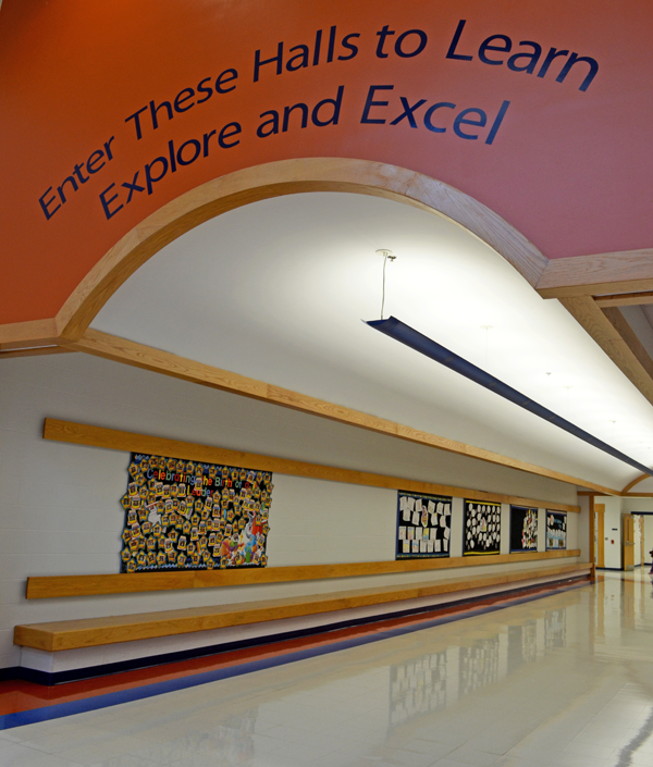 "School Hallway:  ""Enter these halls to learn, explore, and excel"""
